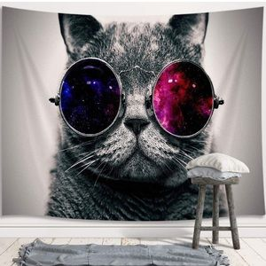 """Wall Tapestry Cool Cat Shades 60"""" x 40"""" New"""